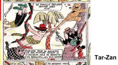 bandes dessinées,bd,tarzan,têtar-zan,zan-zan,tarzanides,marijac,pellos,coq hardi,l'épatant,jacovitti