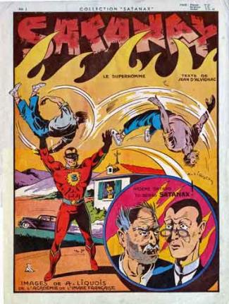 Satanax,bd,bandes dessinées anciennes,illustrés pour enfants,tarzanides,superhomme,jean d'Alvignac,A. Liquois,