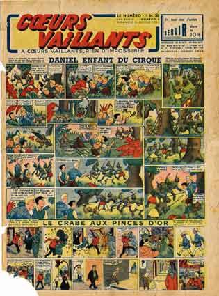 bd ancienne,bd de collection,coeurs vaillants,tintin,montluçon 1943,georges rémi